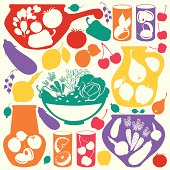 Decorative food icons - vector  vegetables, fruits and berries