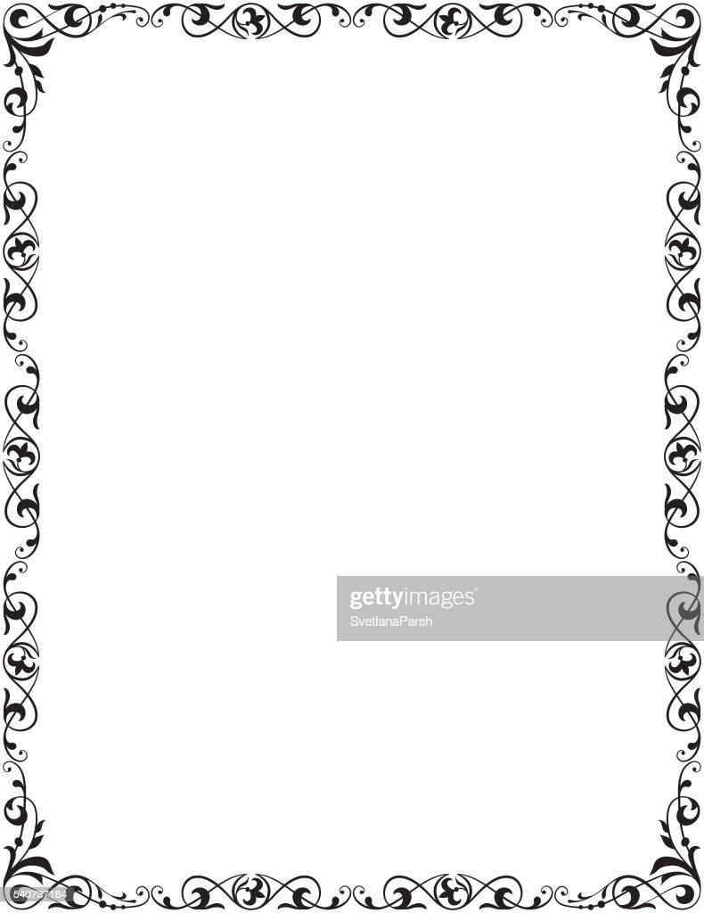 Decorative Frame Corner Vignette Letter Page Size Vector Art
