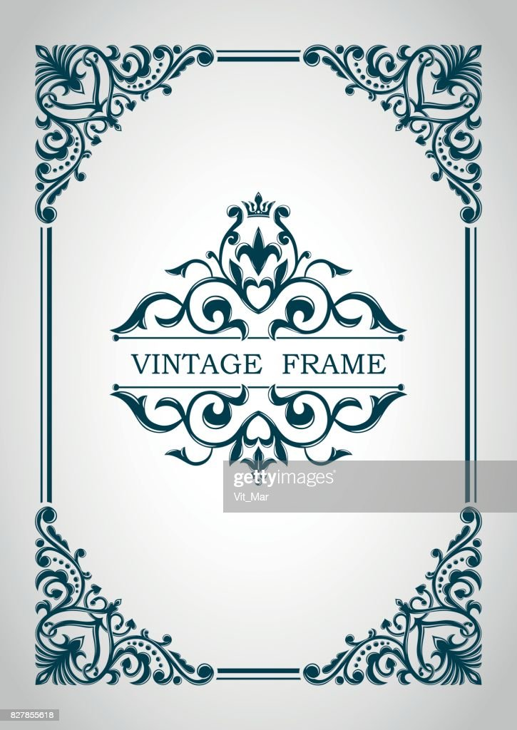 Decorative frame. Floral border. Calligraphic ornament. Heraldic symbols. Monogram.