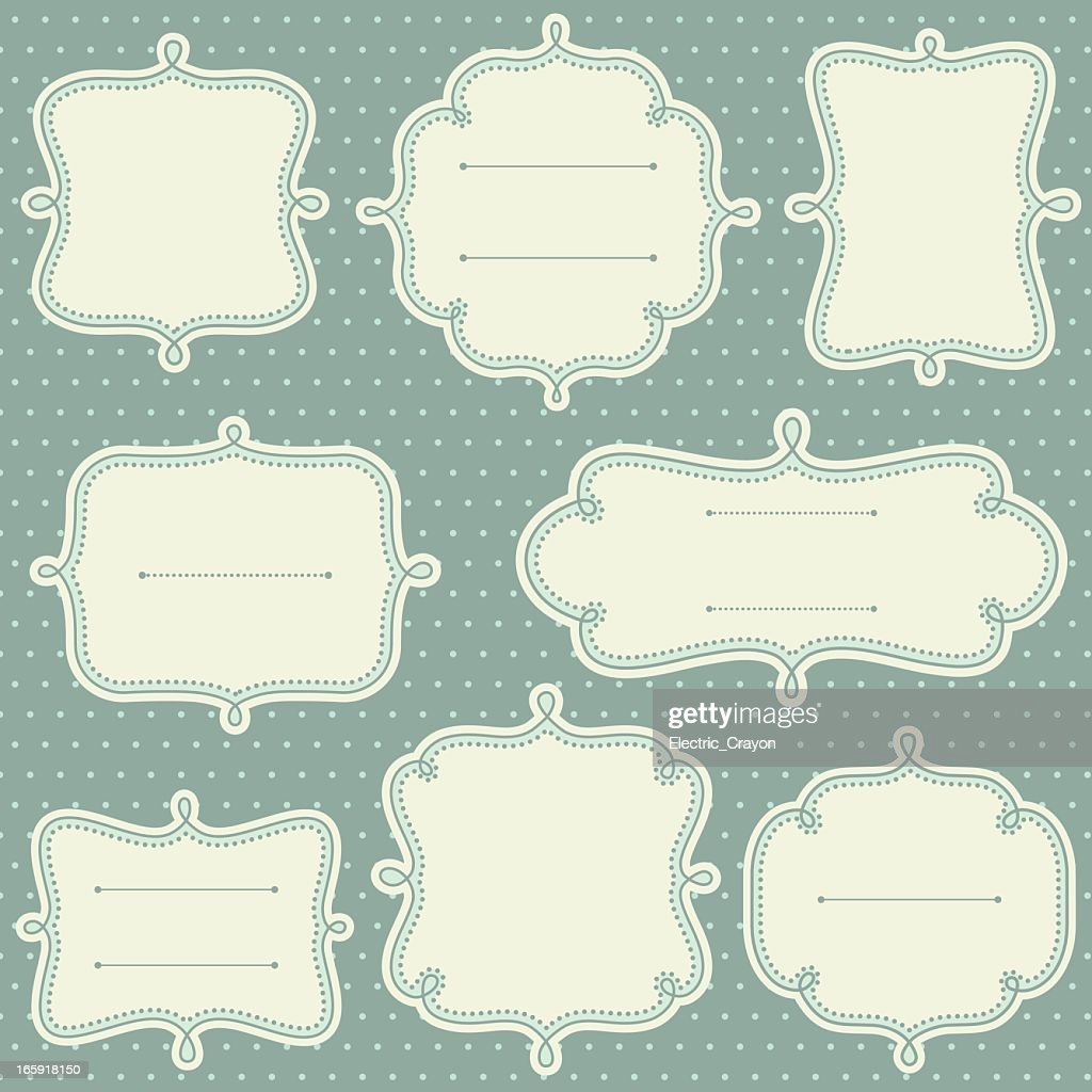Decorative frame templates in a light teal