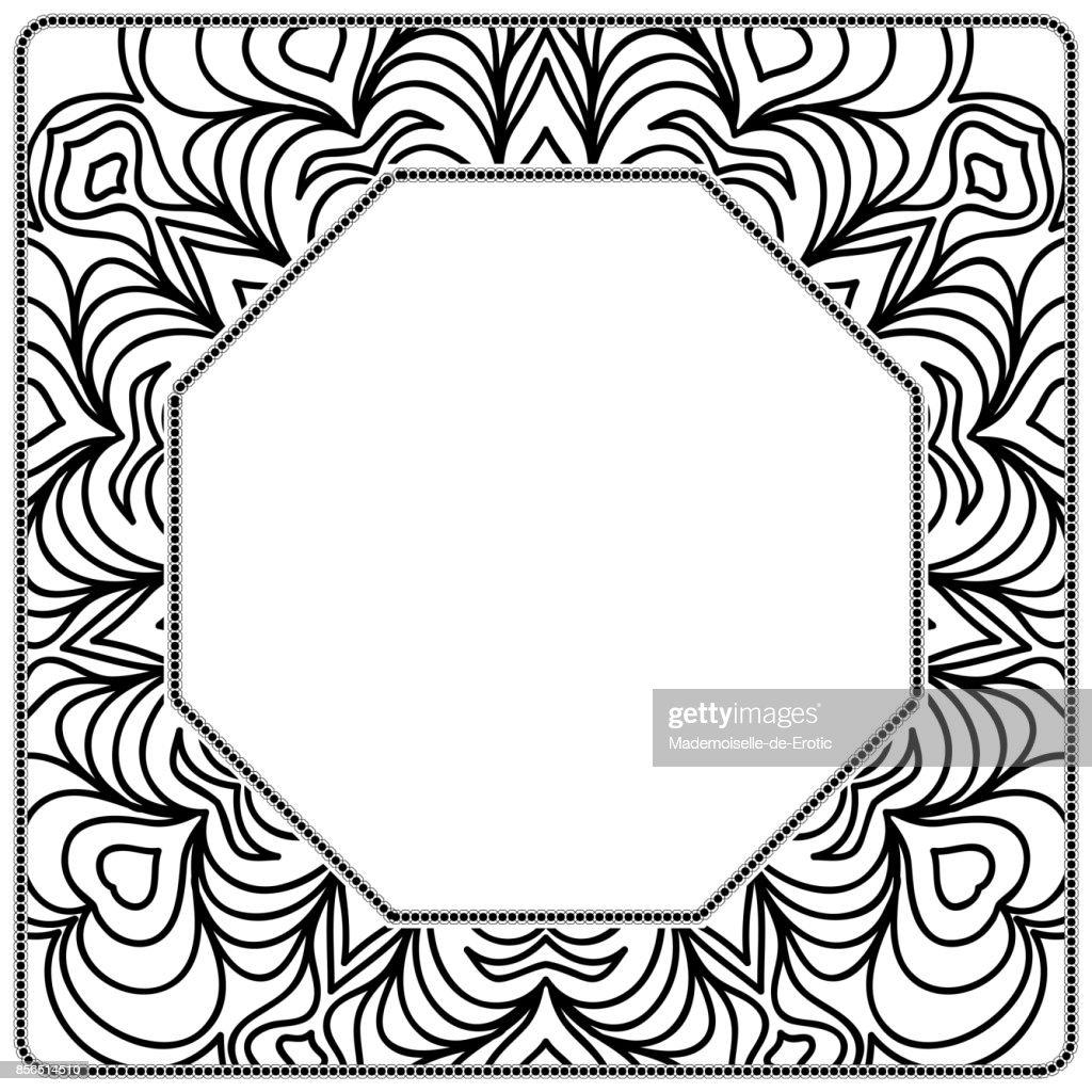 Decorative Frame With Floral Border Vector Illustration Vector Art ...