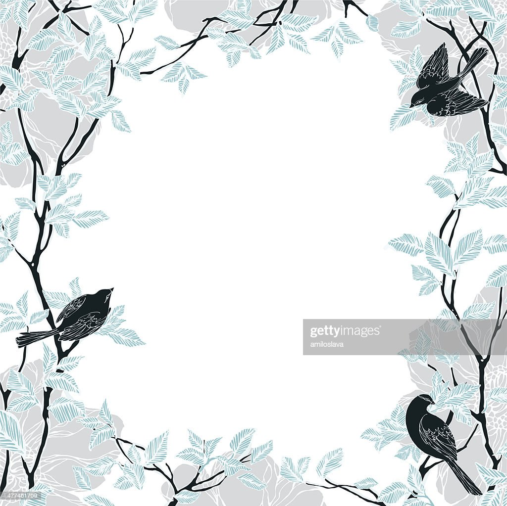 Decorative frame with trees,