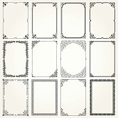 Decorative frames and borders A4 proportions set #4
