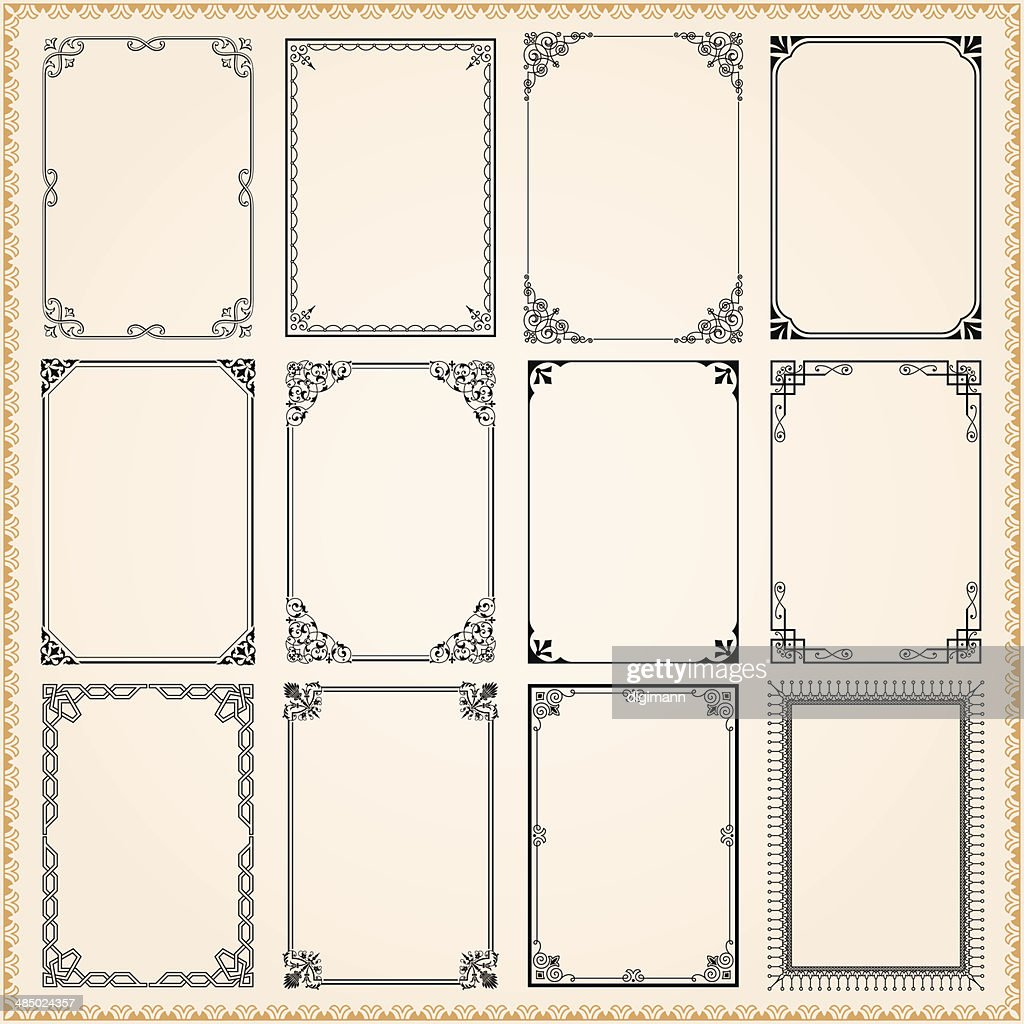 Decorative frames and borders set vector