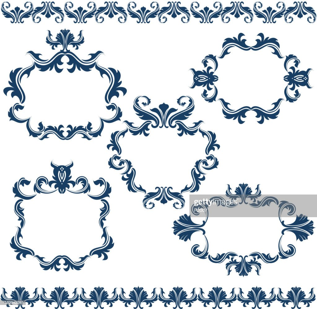 Ensemble de cadres décoratifs : Clipart vectoriel