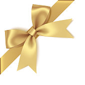 Decorative golden bow with diagonally ribbon on the corner. Vector bow for page decor