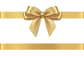 Decorative golden bow with horizontal ribbon isolated on white background.