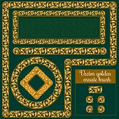 Decorative golden ornate design elements and brush for illustrator