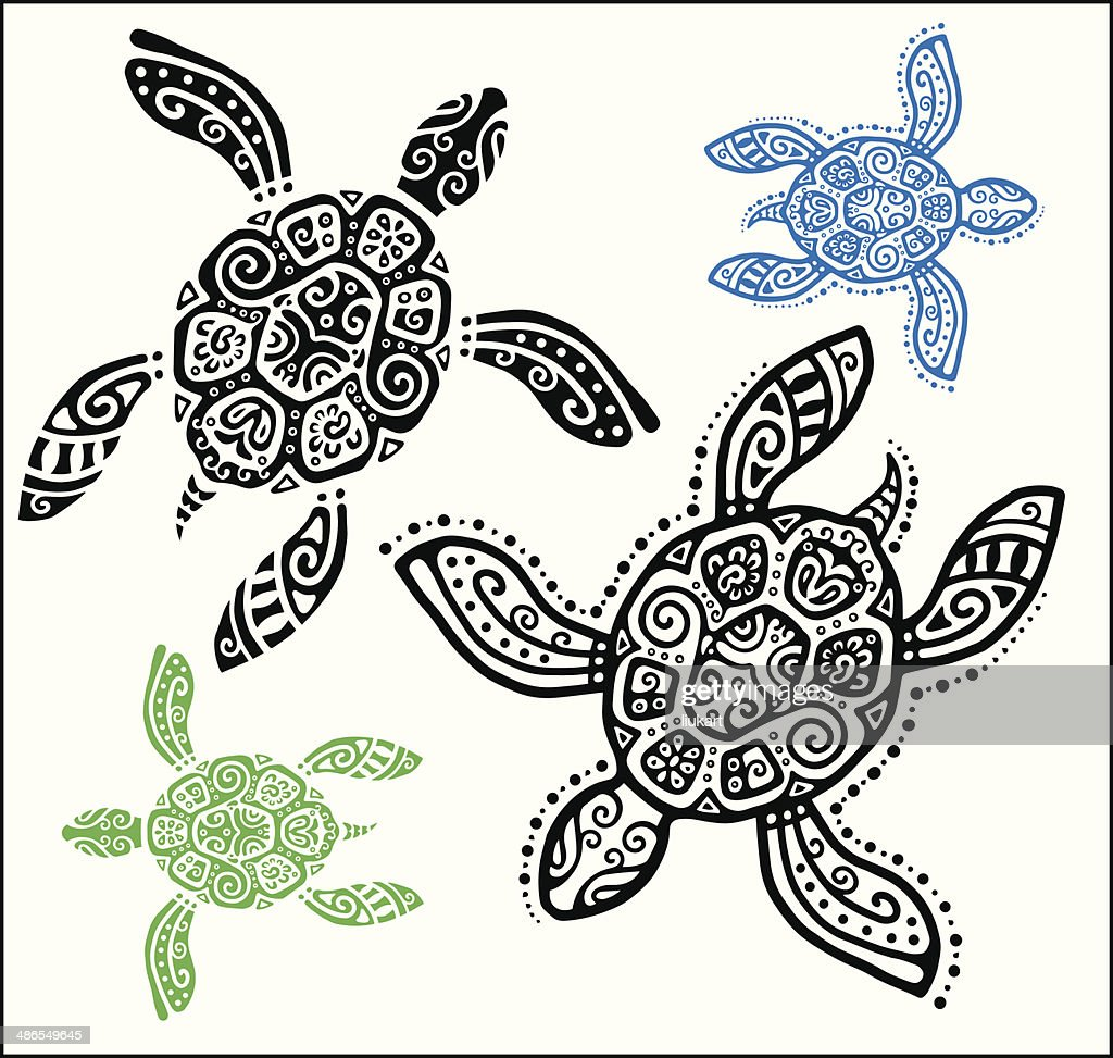 Decorative graphic turtle, tattoo style, totem animal, tribal pattern set