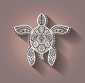 Decorative graphic turtle, tattoo style, tribal totem animal, lace pattern