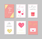 Decorative greeting cards for Valentine s Day.Typography set.The main symbols of the holiday. Vector logo, emblems, text design. Usable for banners, greeting cards, gifts etc