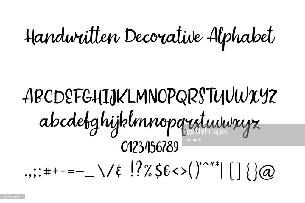 Decorative hand drawn alphabet. Handwritten brush font. Modern calligraphy ABC