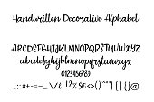Decorative hand drawn alphabet. Handwritten brush font. Modern calligraphy ABC