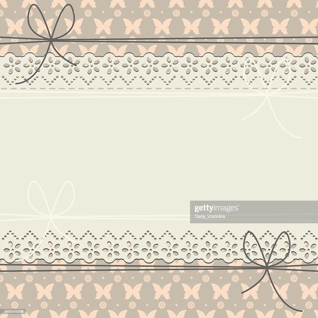 Decorative horizontal greeting card with flowers, butterflies and polka dots