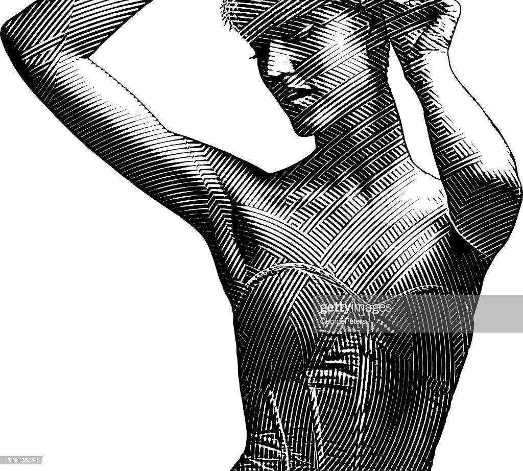 Decorative Illustration of a beautiful woman wearing a corset