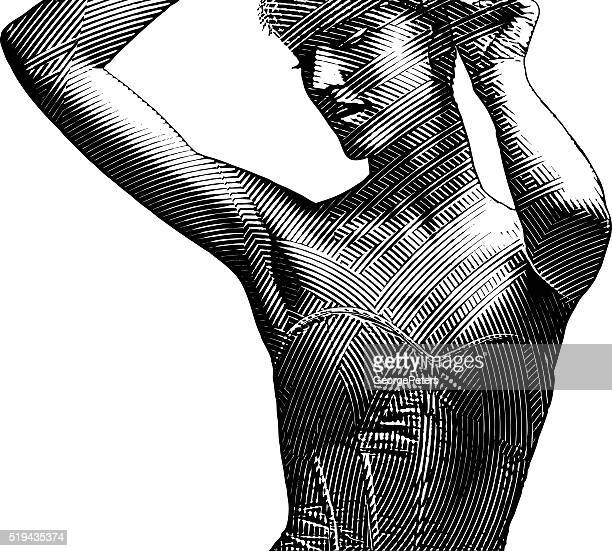 decorative illustration of a beautiful woman wearing a corset - en búsqueda stock illustrations