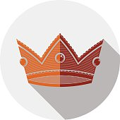 Decorative imperial 3d icon isolated on white. Golden king crown