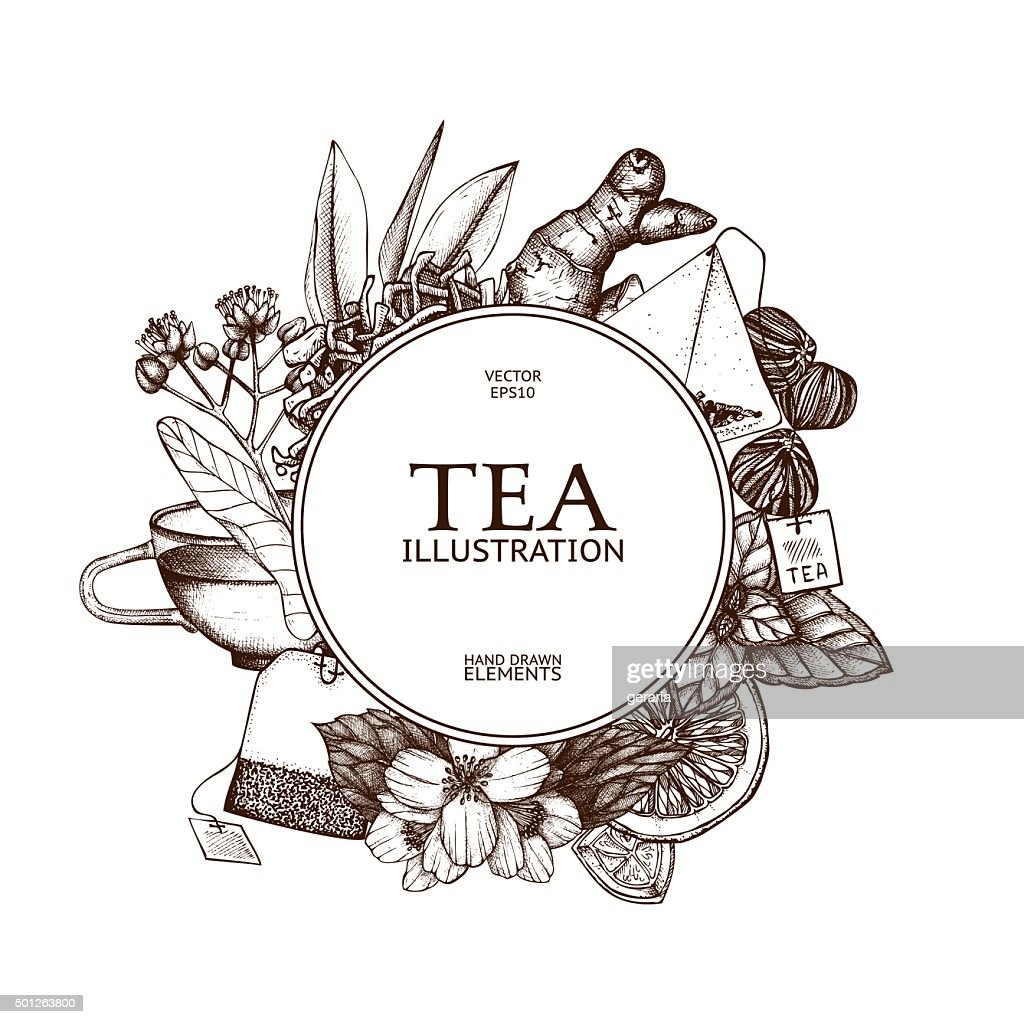 Decorative inking background with vintage tea sketch.