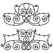 Decorative iron metal fence elegance retro calligraphic style swirl vintage border frame design decorative sign and antique decoration ornament vector illustration