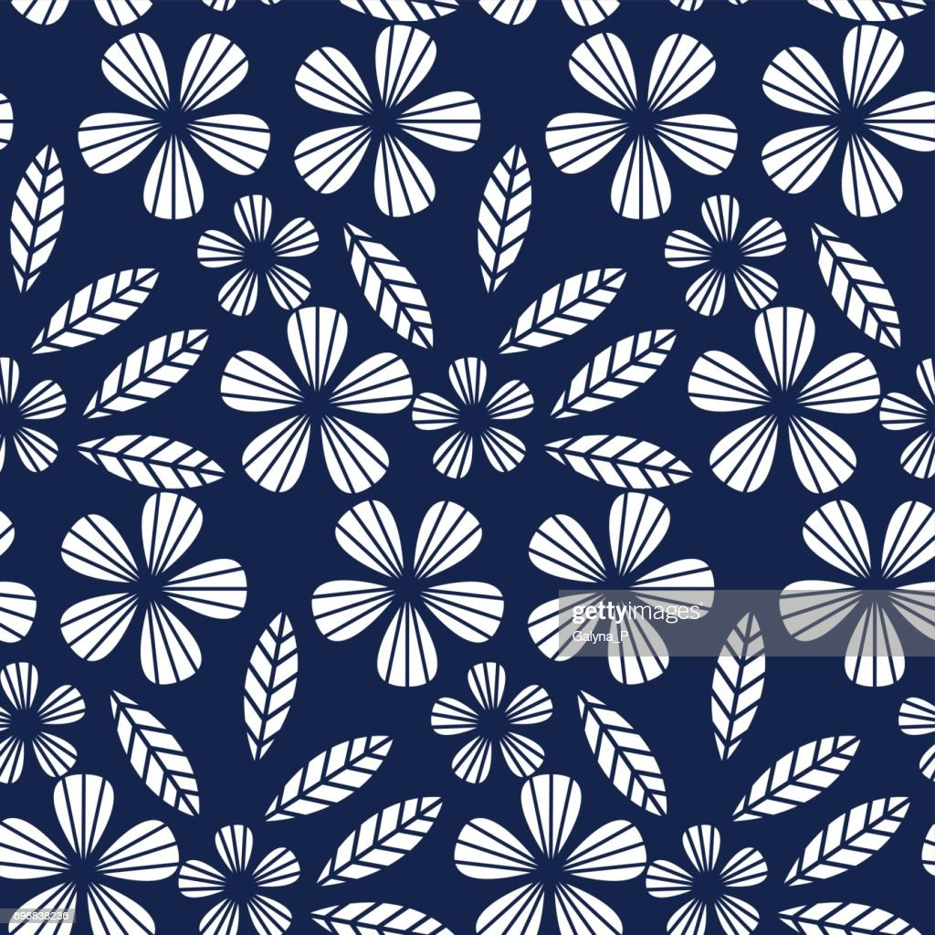 decorative leave and flower design element. geometry floral tropical seamless pattern for surface design.