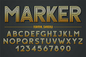 Decorative lineated font with true vector shadow. 5 lines