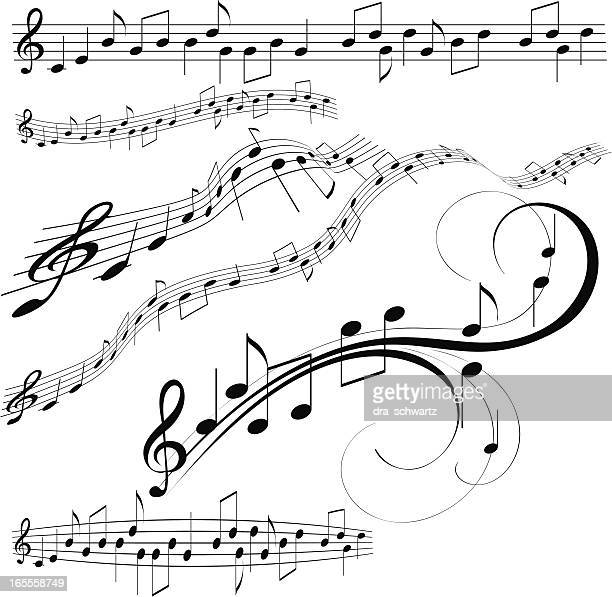 decorative music note - sheet music stock illustrations, clip art, cartoons, & icons