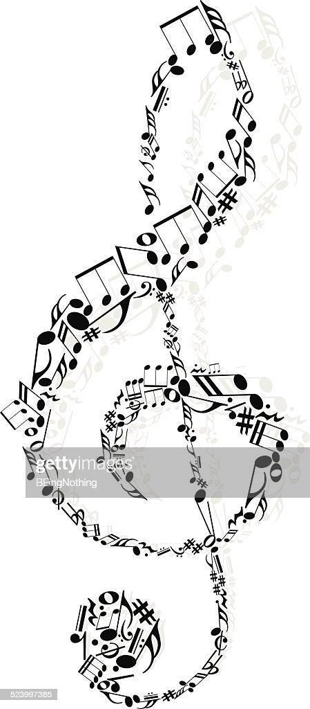 Música decorativa nota : Ilustração