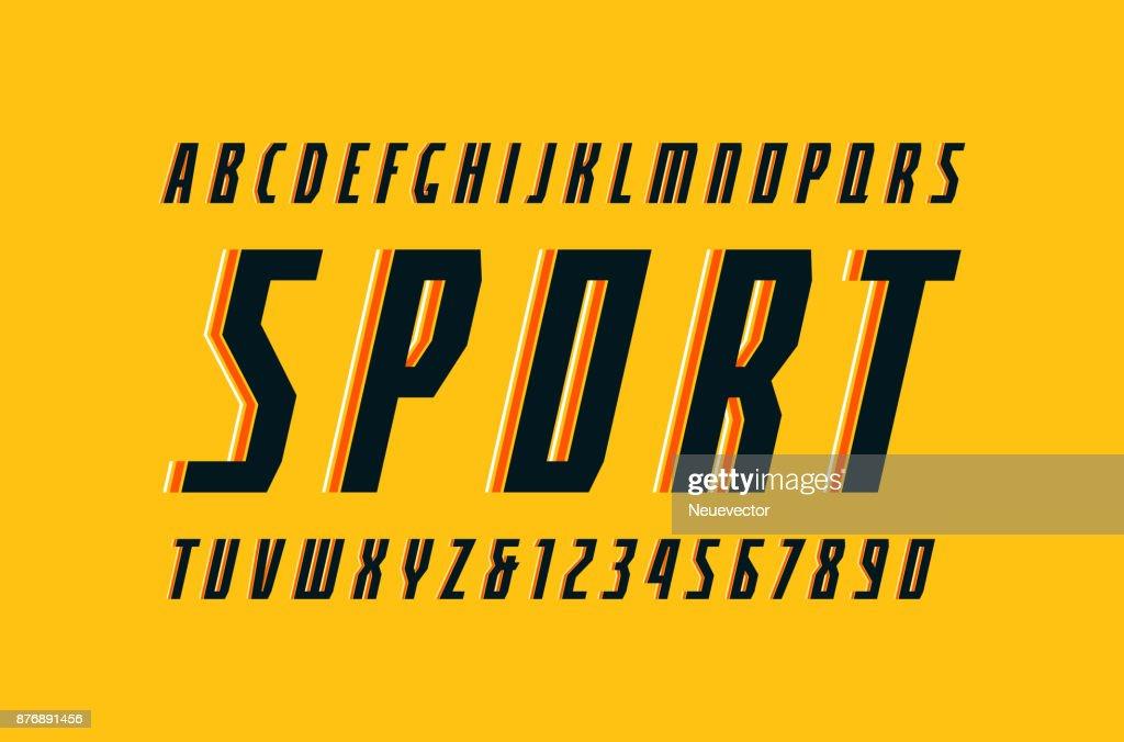 Decorative narrow italic sans serif font in the sport style