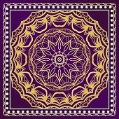 Decorative ornament with mandala decoration. symmetric pattern . For print Bandanna, shawl, tablecloth, fabric fashion, scarf, design