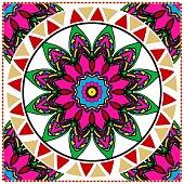 Decorative ornament with round mandala decoration. symmetric pattern . For print Bandanna, shawl, tablecloth, fabric fashion, scarf, design