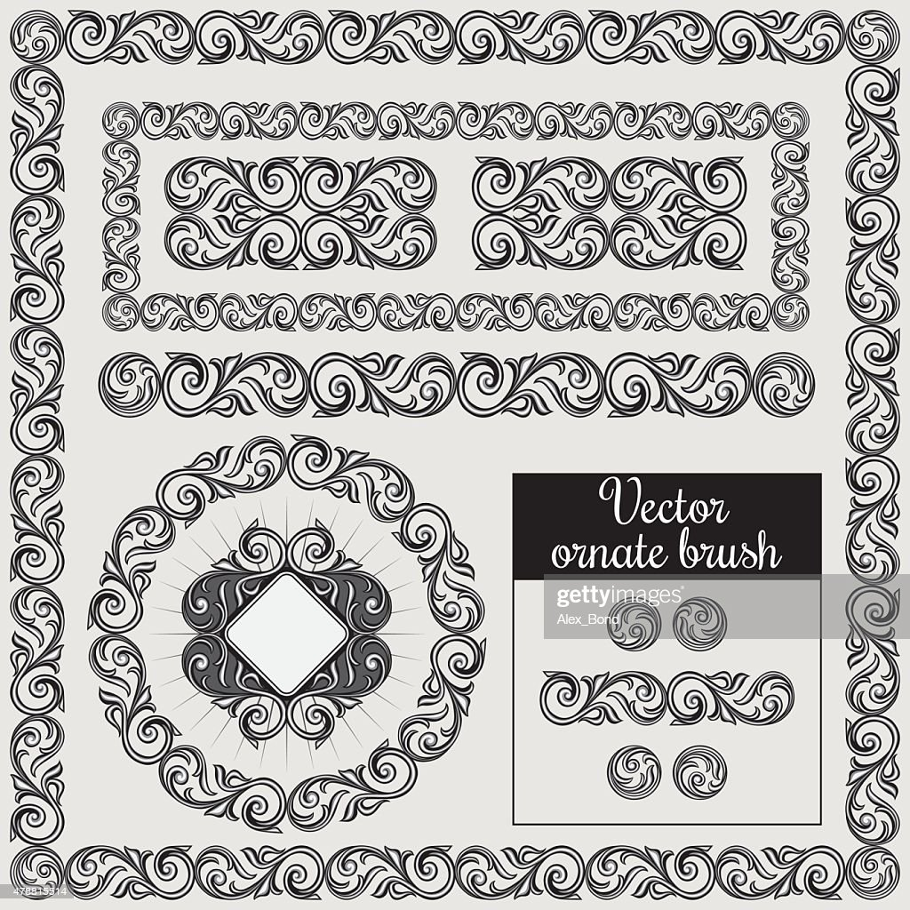 Decorative ornate design elements and brush for illustrator