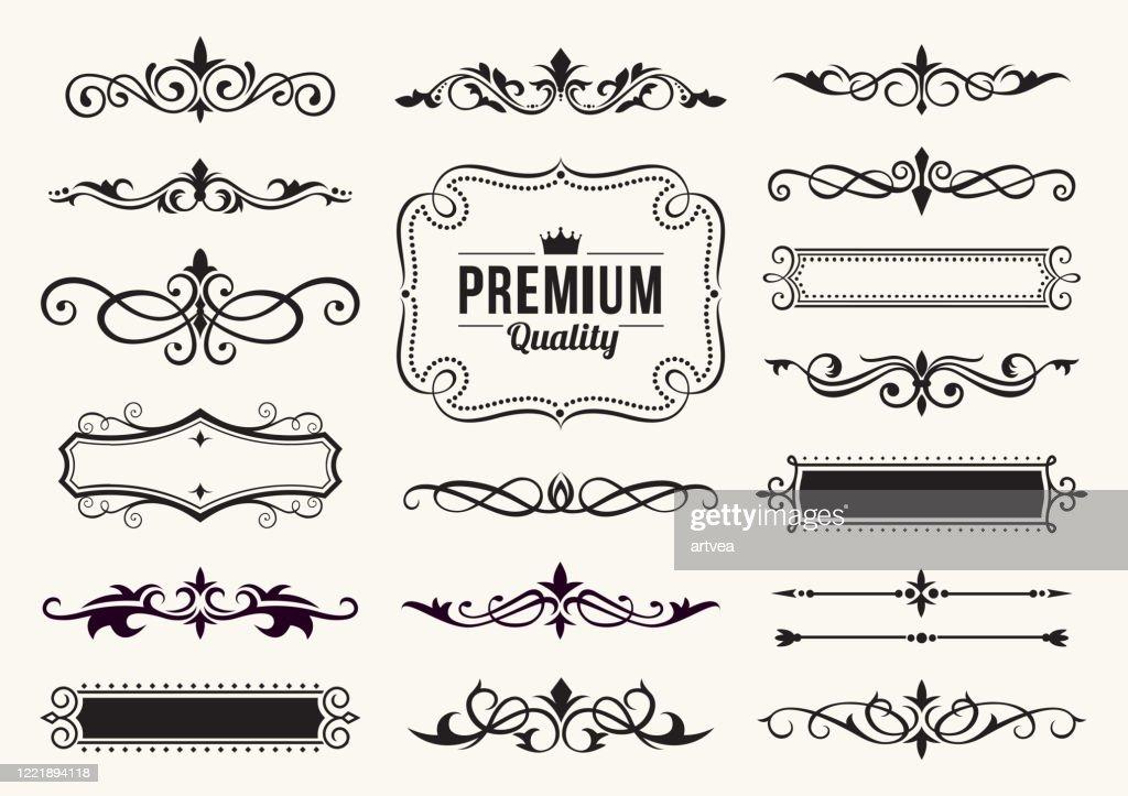 Decorative Ornate Elements and Badges : stock illustration