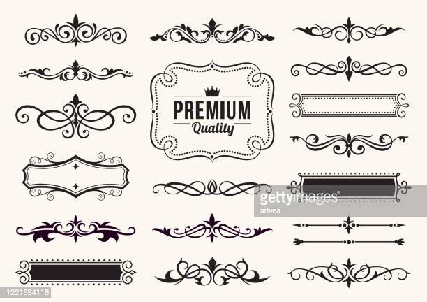 decorative ornate elements and badges - decoration stock illustrations