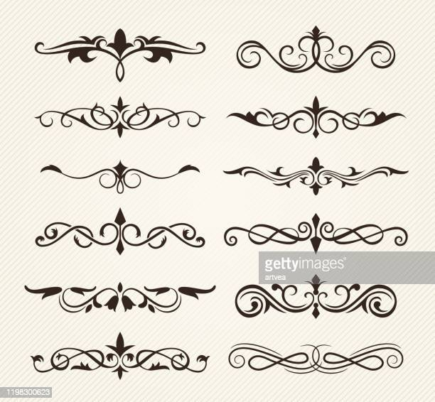 decorative ornate elements - filigree stock illustrations