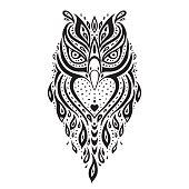 Decorative Owl. Ethnic pattern.