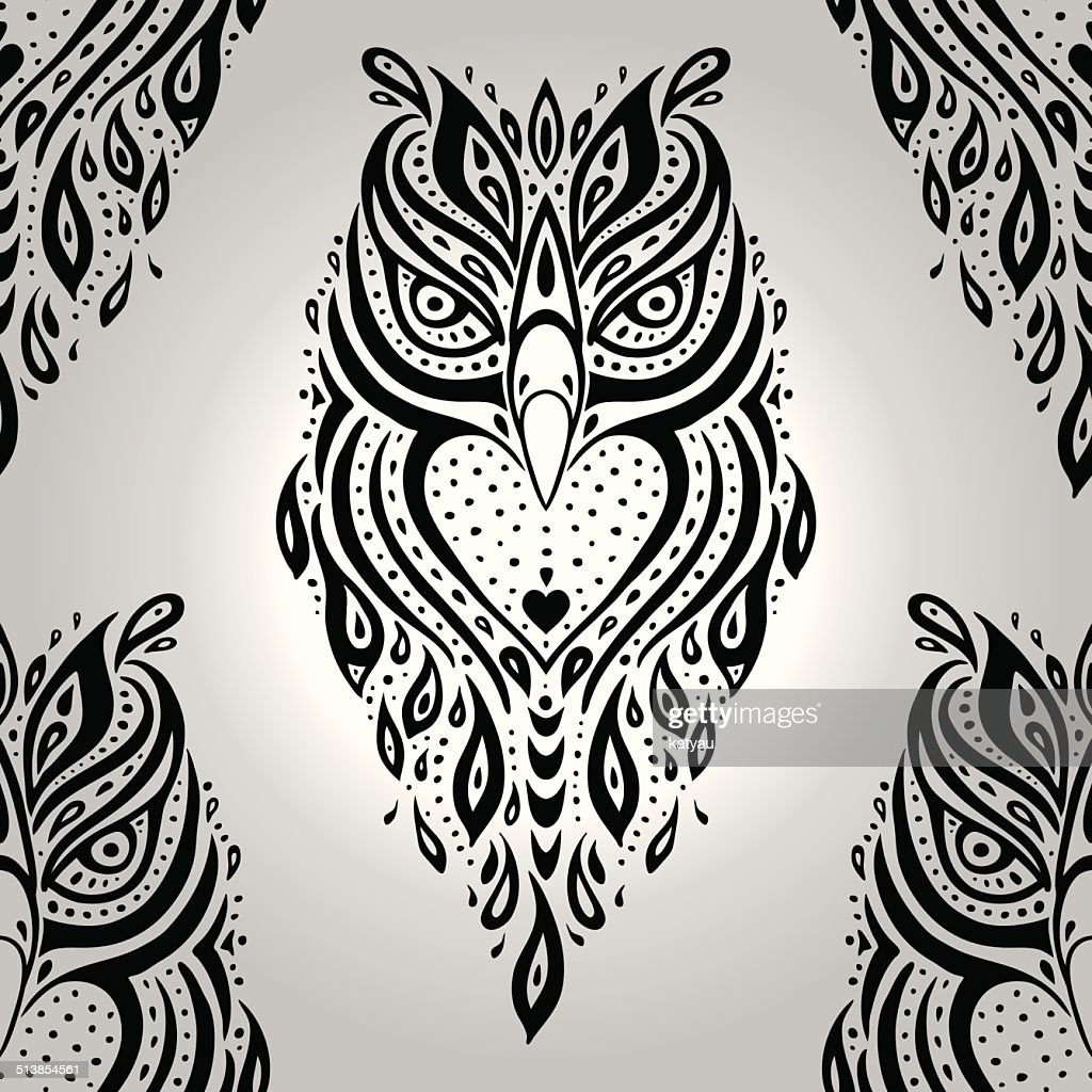 Decorative Owl. Seamless pattern.