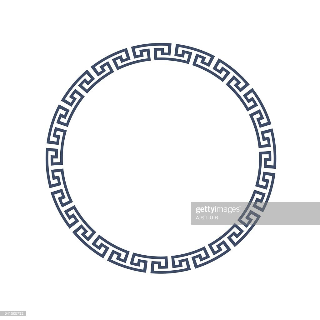Decorative round frame for design in Greek style