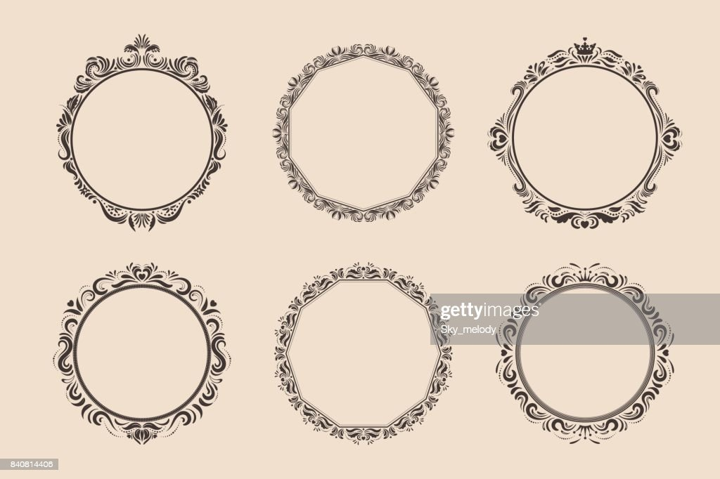 Decorative round vintage frames and borders set. Victorian and baroque style design.