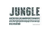Decorative sans serif font with palm leaf pattern