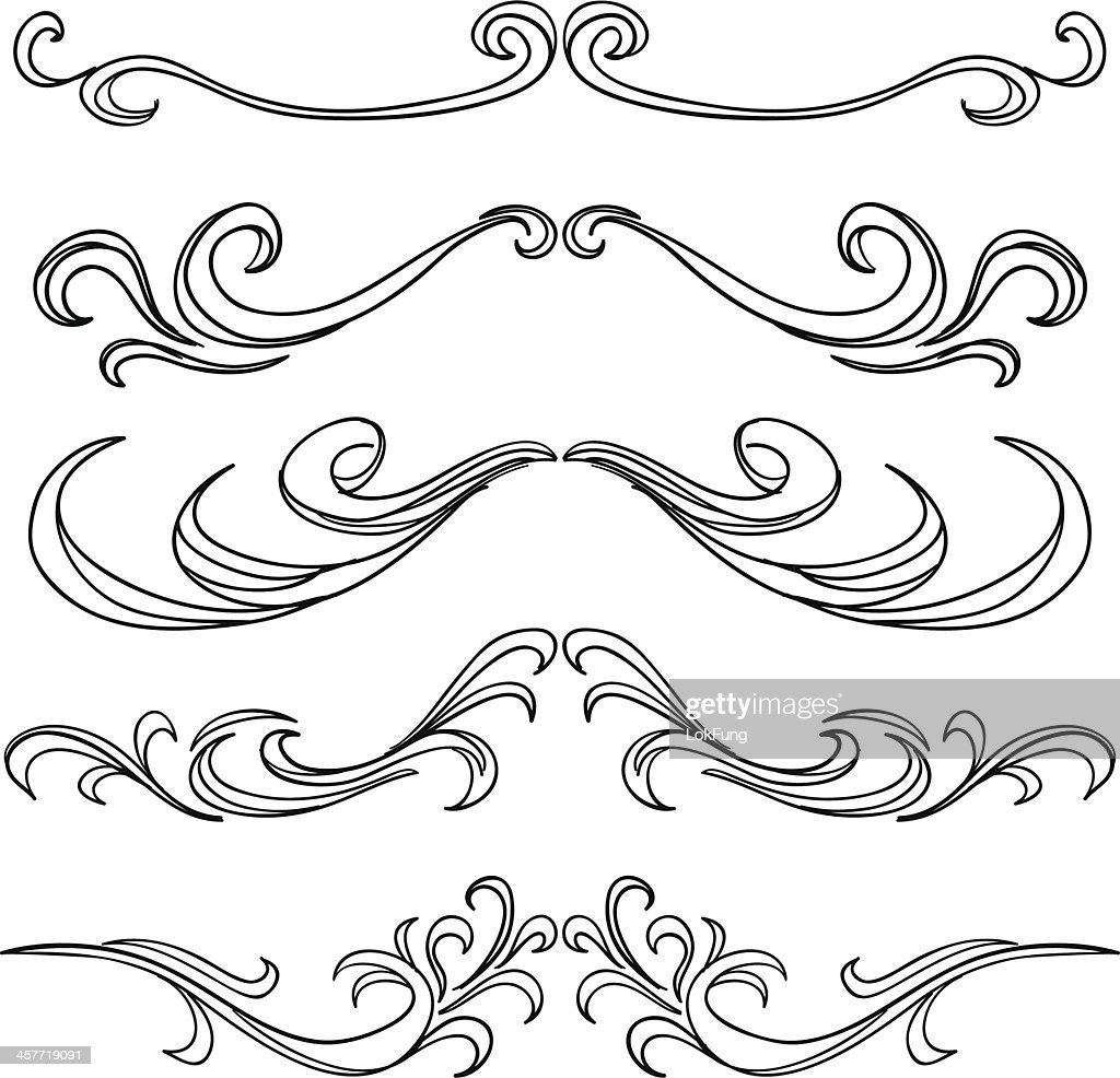 Decorative scroll frame in black and white vector art for Decorative scrollwork