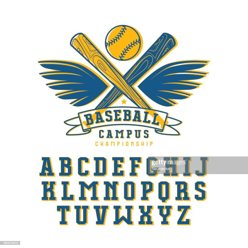 Decorative serif font and baseball emblem for t-shirt
