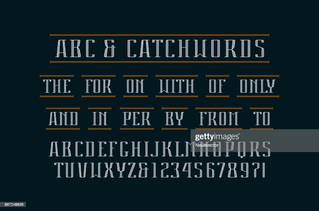 Decorative serif font and catchwords