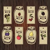 Decorative set of retro labels for fruit jams