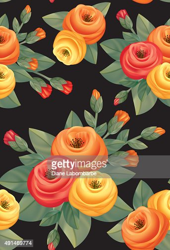 Decorative style Roses Bouquet Seamless pattern