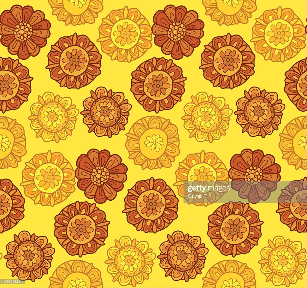decorative stylized marigold flower vector illustration. seamles