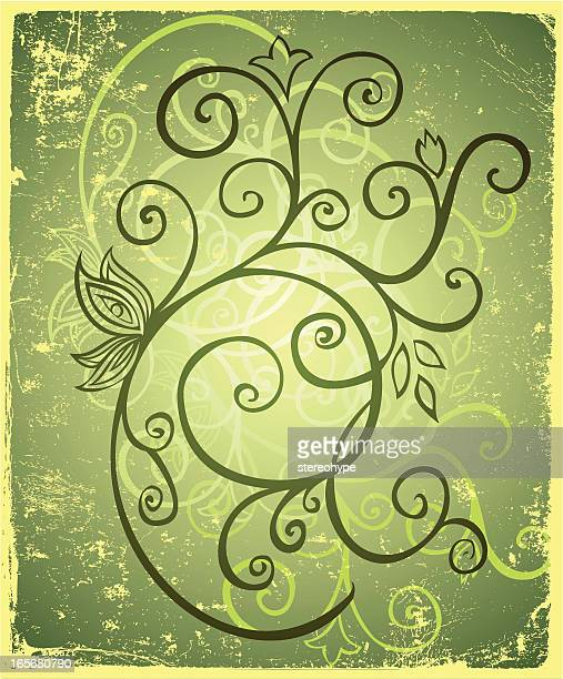 decorative swirling branch - plant stage stock illustrations, clip art, cartoons, & icons