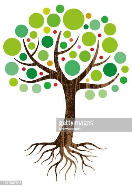 装飾的な木と根のイラスト - 樹木点のイラスト素材/クリップアート素材/マンガ素材/アイコン素材