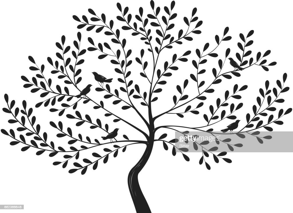 Decorative tree with birds on branches. Silhouette vector illustration