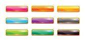 Decorative vector colorful long buttons set