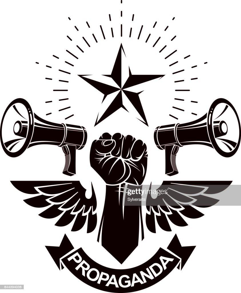 Dekorative Vektor Emblem Komponiert Mit Muskulösen Angehoben ...